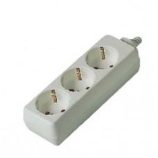 Розеточная колодка GSB-16-3-G-IP20, 16А, 3 места, с заземлением, без выключателя, IP20 General