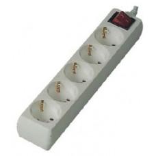 Розеточная колодка GSB-16-5-G-S-IP20, 16 А, 5 мест, с зазаемлением, с выключателем, IP20 General