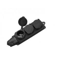 Розеточная колодка GSB-16-3-G-IP44, 16А, 3 места, с заземлением, без выключателя, IP44 General