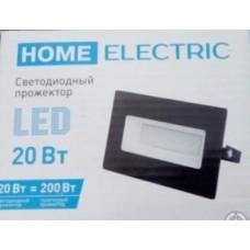 """Прожектор светодиодный """"HOME ELECTRIC"""" 20Вт, IP65, 6500K, черный"""