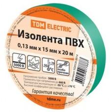 Изолента ПВХ 0,13х15мм Зеленая 20метров TDM