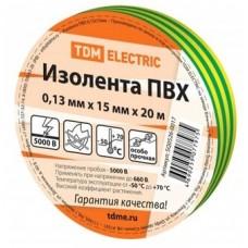 Изолента ПВХ 0,13х15мм Желто-Зеленая 20метров TDM