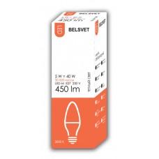 Лампа светодиодная BELSVET LED-М C37 5W 3000 К E27 (свеча)