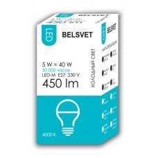 Лампа светодиодная BELSVET LED-M G45 5 W 4000 K E27 (шарик)
