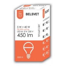 Лампа светодиодная BELSVET LED-M G45 5 W 3000 K E14 (шарик)